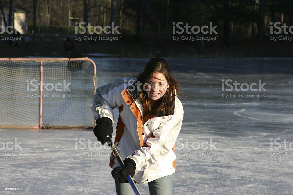 Girls play hockey too royalty-free stock photo