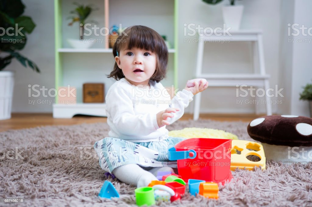 Girls play in the room stock photo
