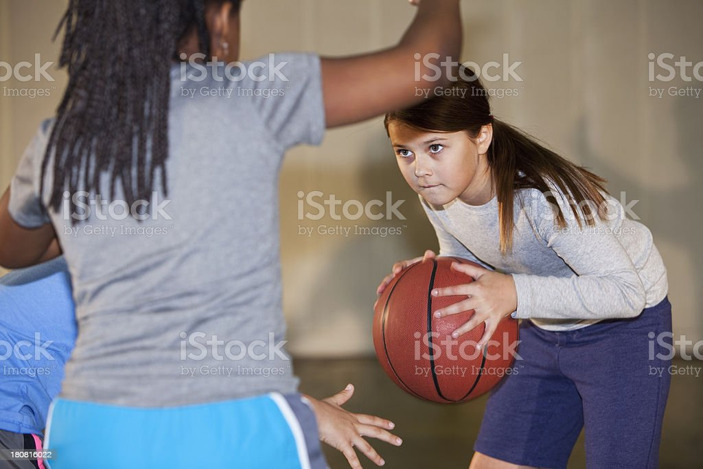 Girls playing basketball royalty-free stock photo