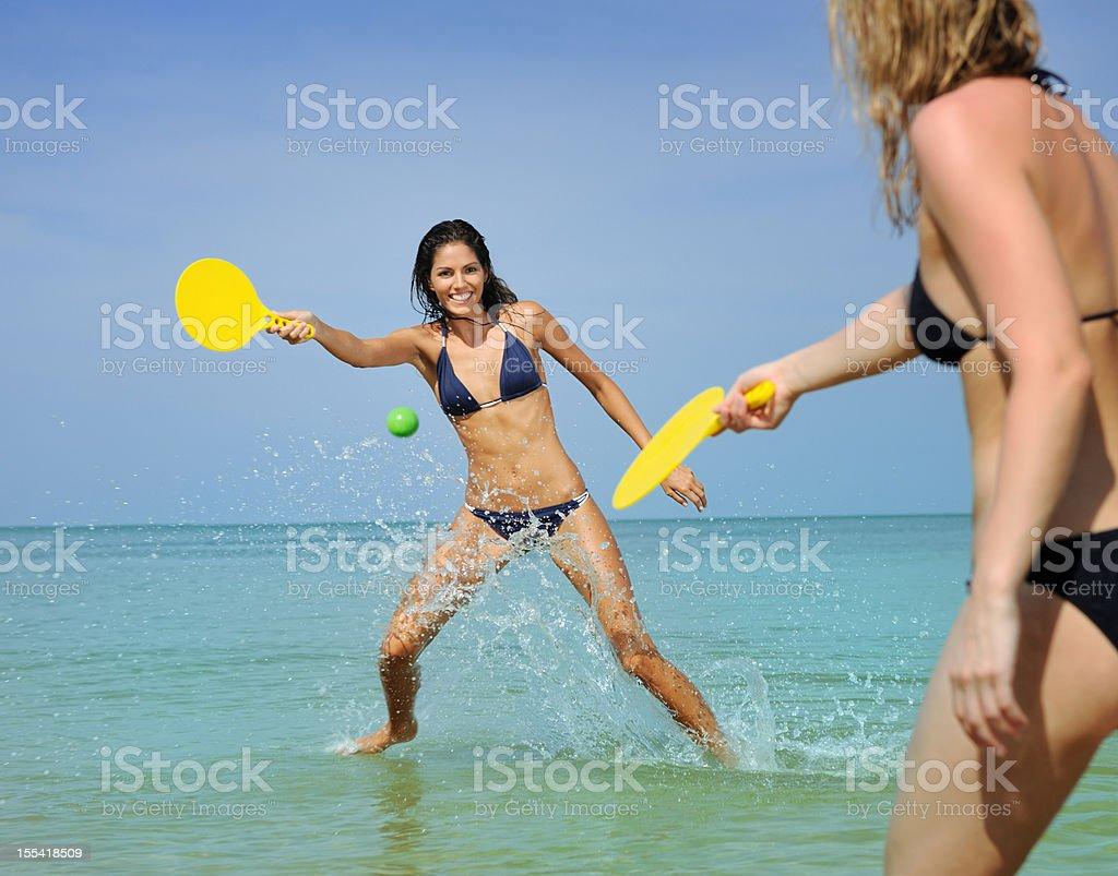 Girls playing Beach Ball (XXXL) stock photo