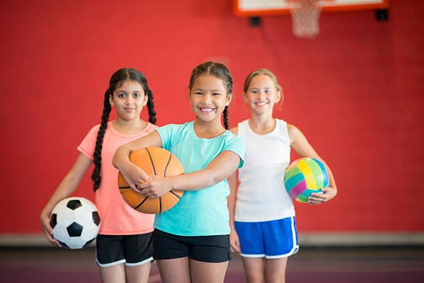 Girls Playing Sports stock photo