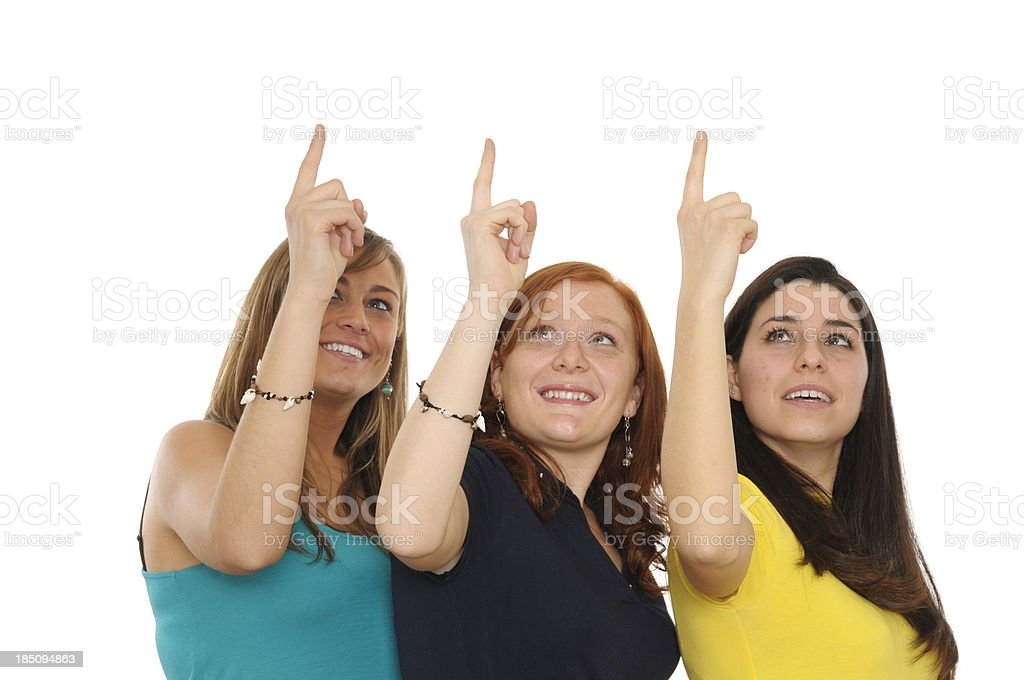 Girls Pointing.CopySpace royalty-free stock photo
