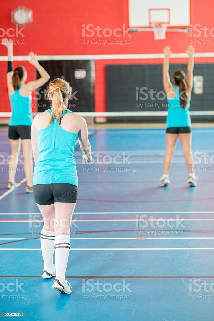Girls Practicing Before the Game stock photo