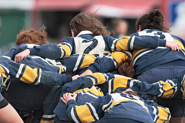 Girls rallying before a rugby game