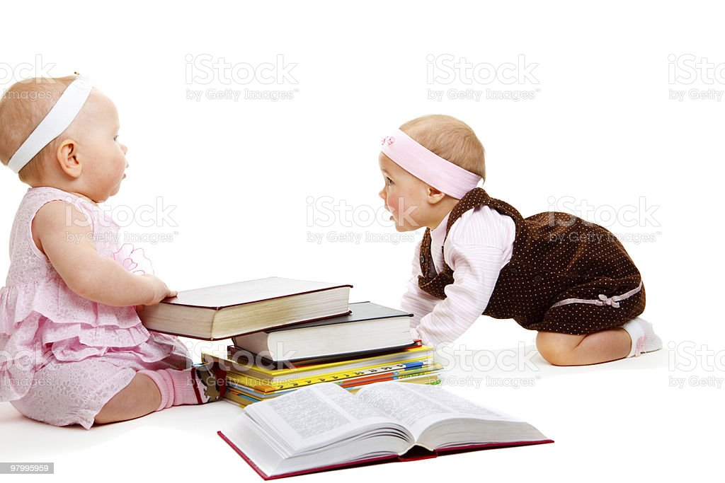 Girls reading books royalty-free stock photo