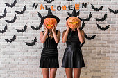 istock Girls ready for Halloween party 856472962