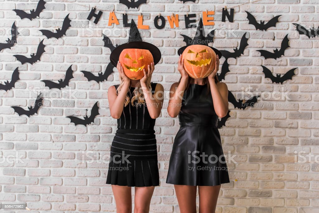 Girls ready for Halloween party stock photo