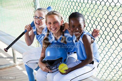 istock Girls softball team sitting in dugout 171278527