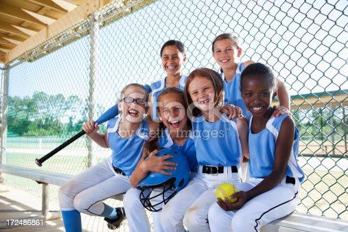 istock Girls softball team sitting in dugout 172486861