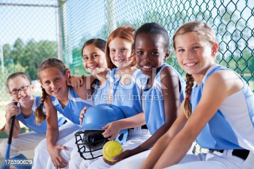 istock Girls softball team sitting in dugout 175390629