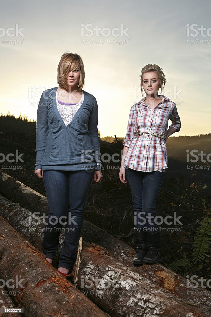 Girls Standing on Logs royalty-free stock photo
