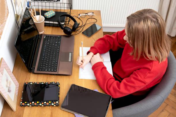 Girls studying at home using laptop during coronavirus pandemic – zdjęcie