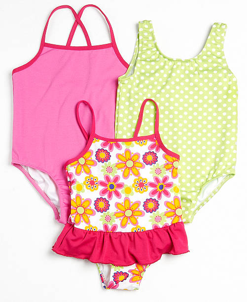 girls swimsuits 3 different swimsuits for young girls. little girls in panties stock pictures, royalty-free photos & images