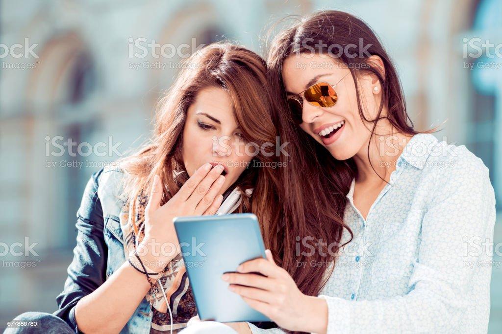 Girls taking selfie royalty-free stock photo