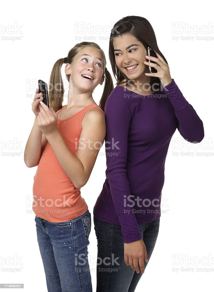 Girls Texting and Talking royalty-free stock photo