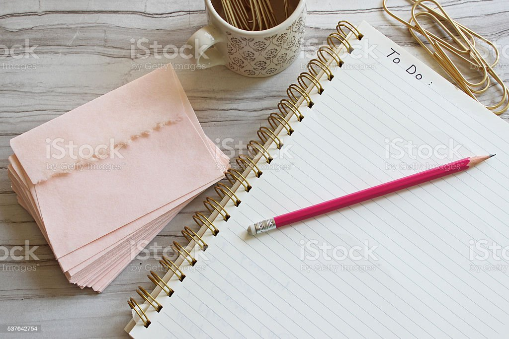 Girl's to do list stock photo
