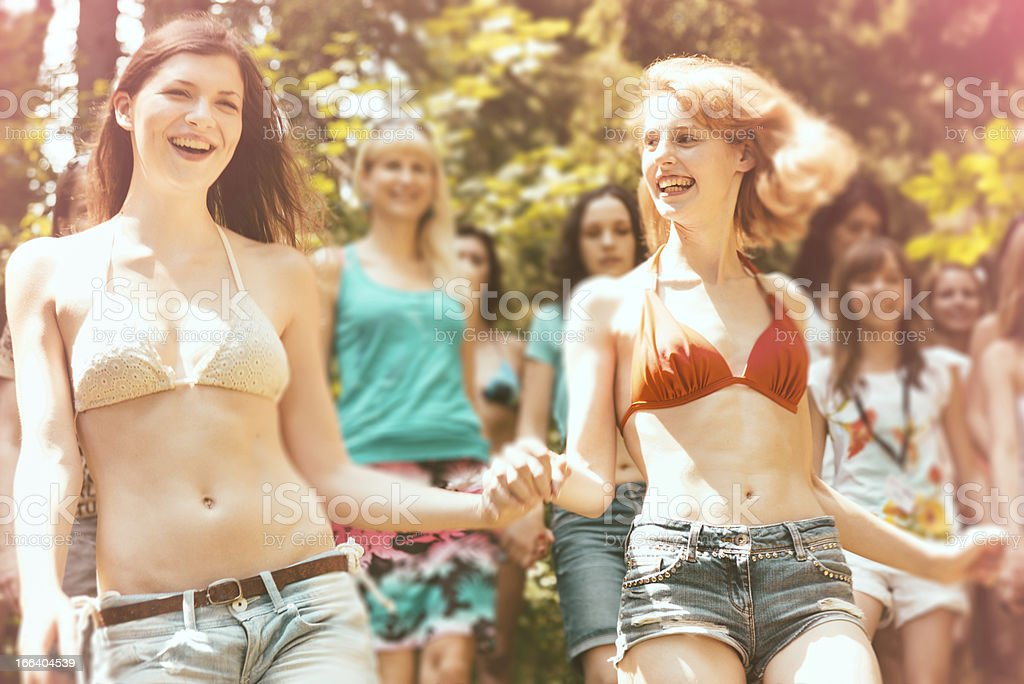 Girls Together,Summer Vacation Camp royalty-free stock photo