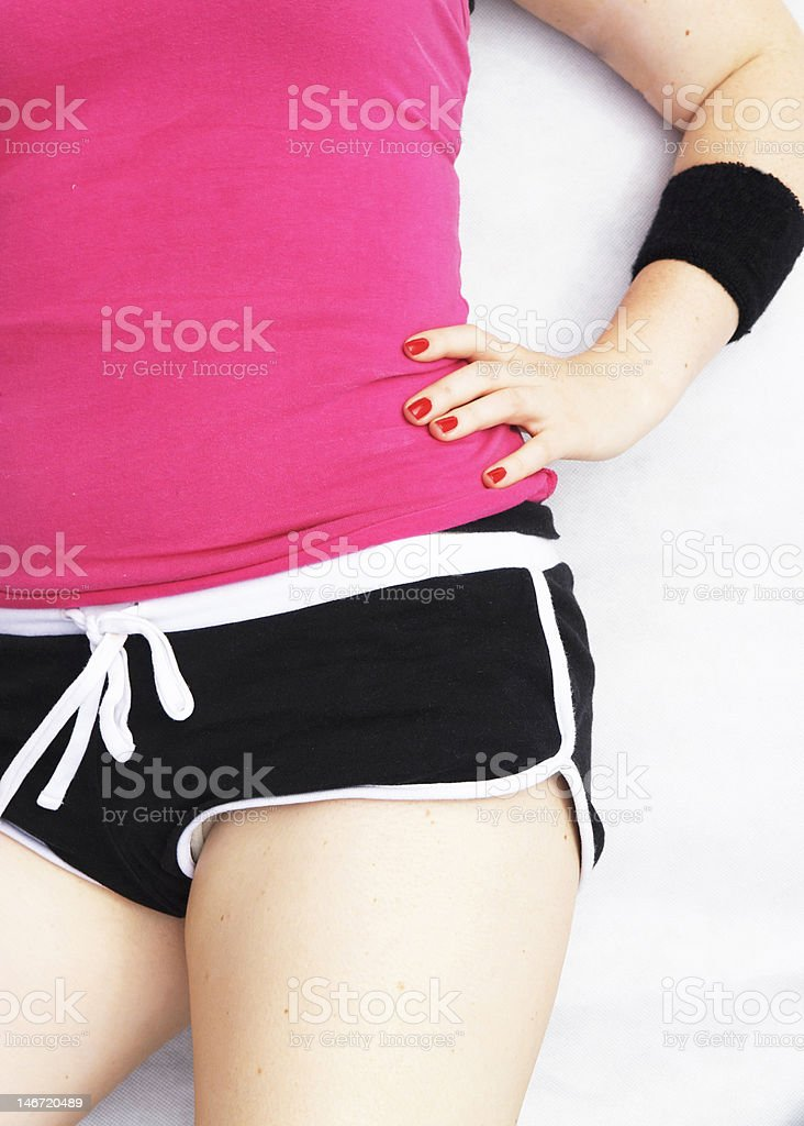 Girls torso with hand on hip royalty-free stock photo