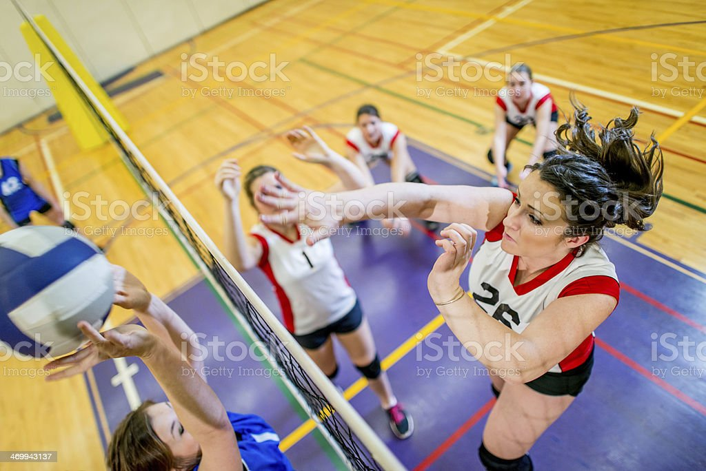 Girls Varsity Volleyball royalty-free stock photo