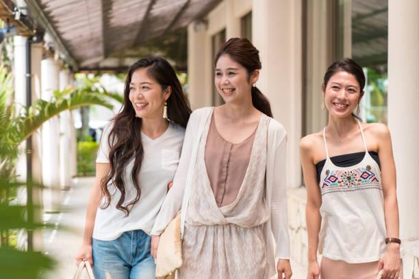Girls walking stock photo