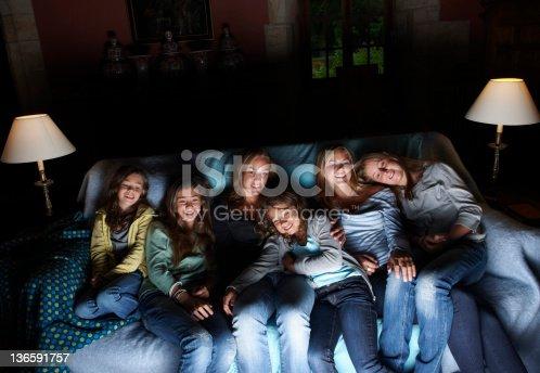 istock Girls watching television on sofa 136591757