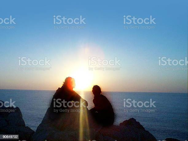 girls watching the sunrise