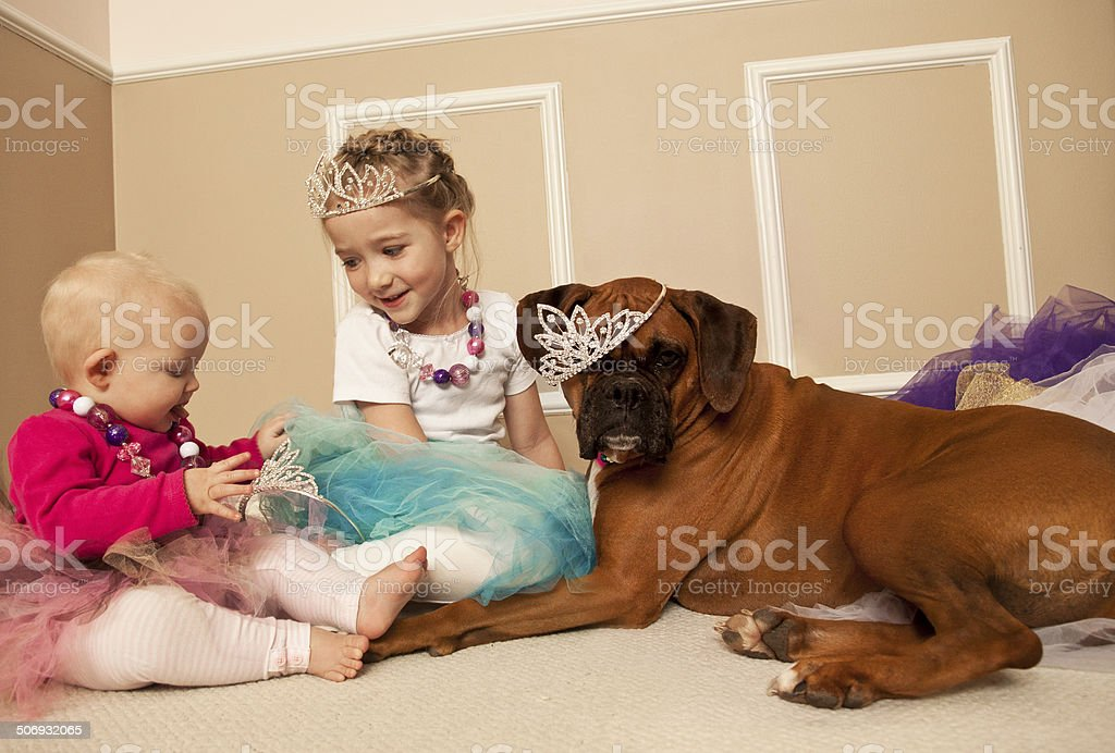 Girls wearing crowns and tutus playing princess party with dog stock photo