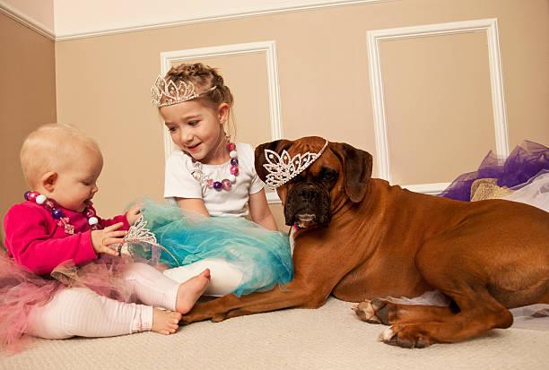 kleines mädchen und ihr baby spielen mit einem hund kleid - prinzessinnen tutu stock-fotos und bilder