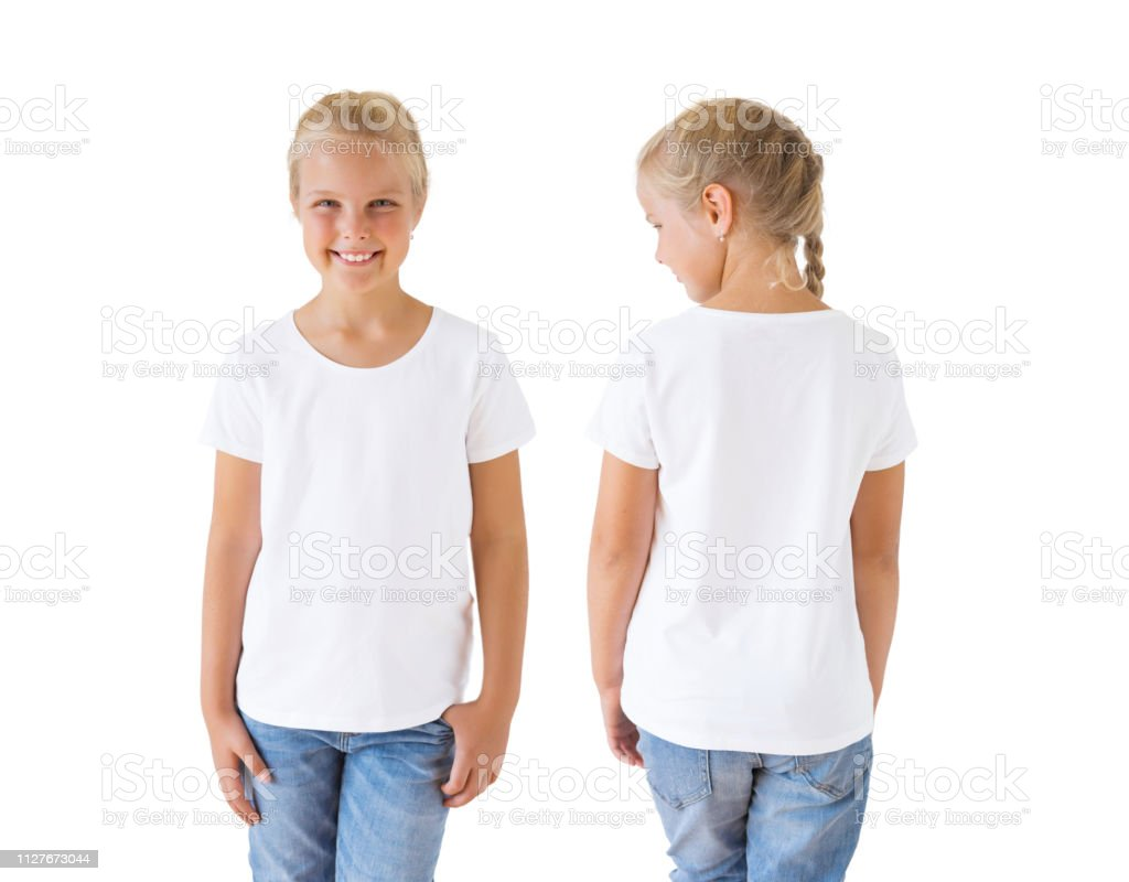 Girls White Tshirt Mockup Template Front And Back Stock Photo