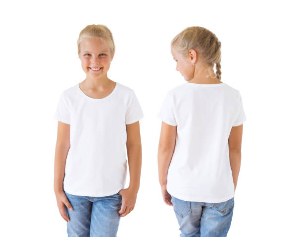 Girl's white t-shirt mockup template, front and back stock photo
