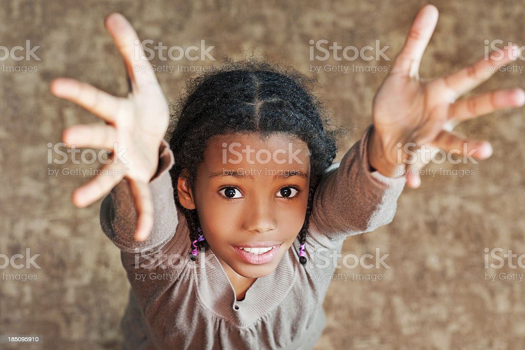 Girls with arms raised. royalty-free stock photo
