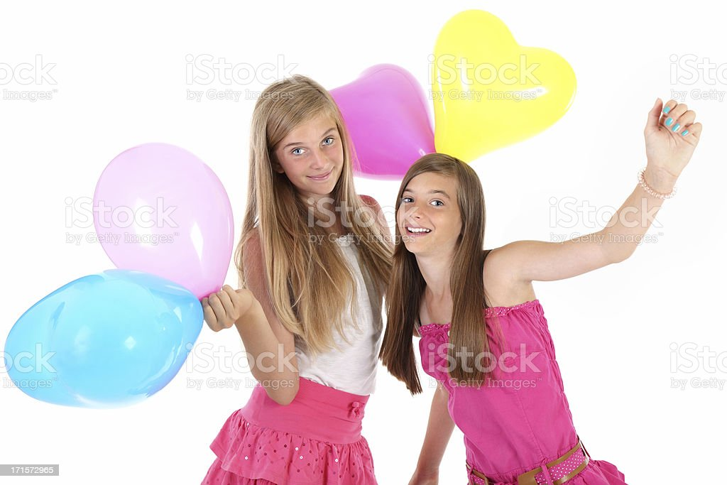 Girls with balloons royalty-free stock photo