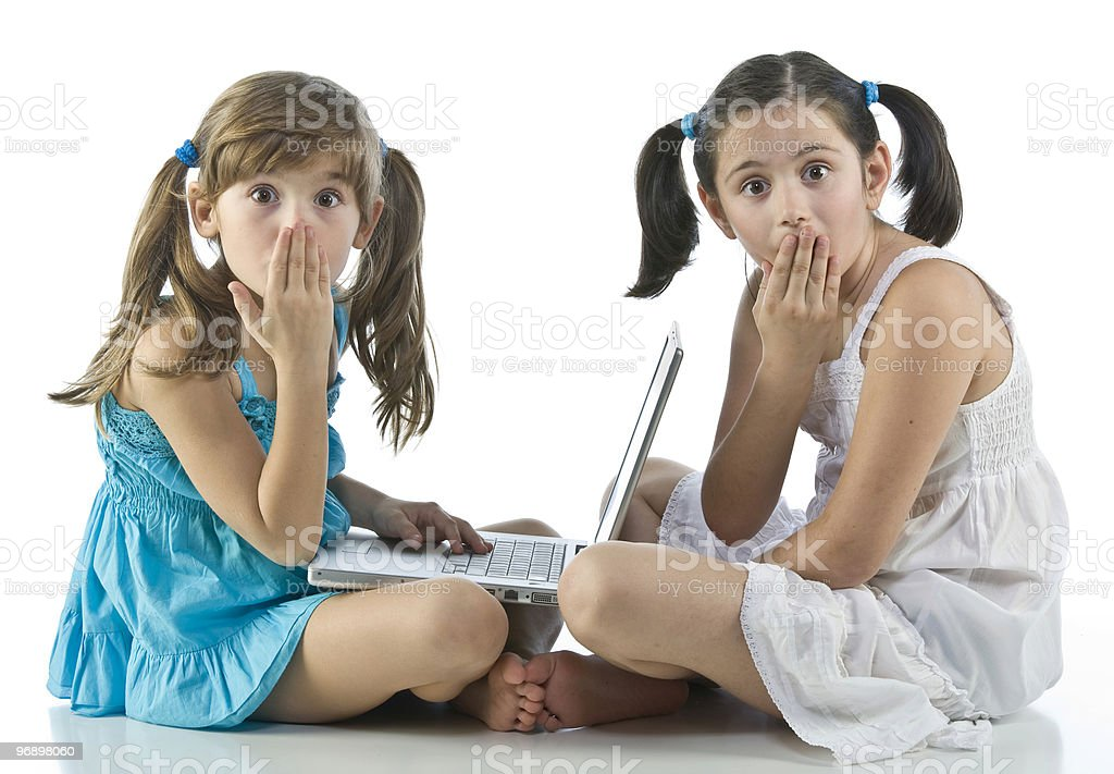 girls with computers royalty-free stock photo