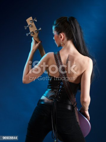 Girls With Guitar From Back Stock Photo & More Pictures of Acoustic Guitar