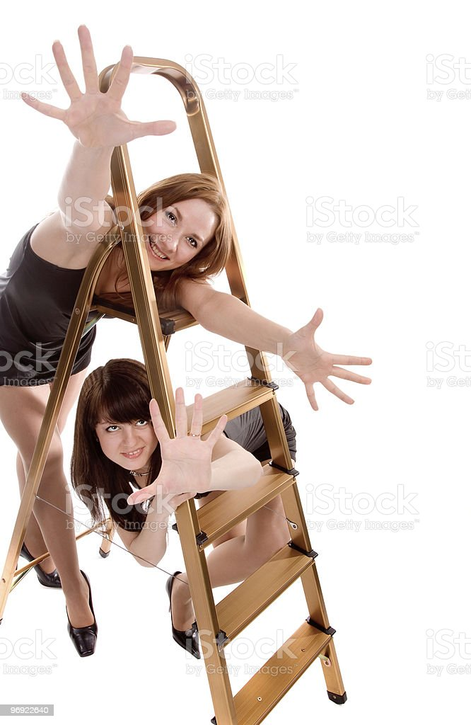 girls with stepladder royalty-free stock photo