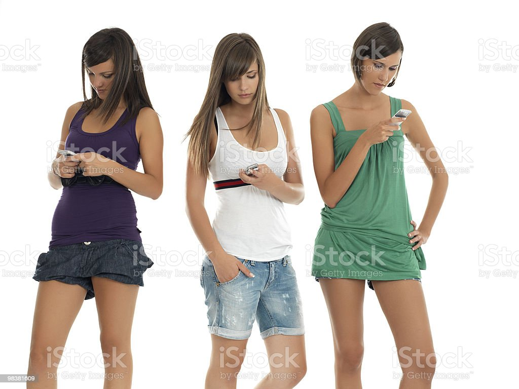 girls write a message royalty-free stock photo