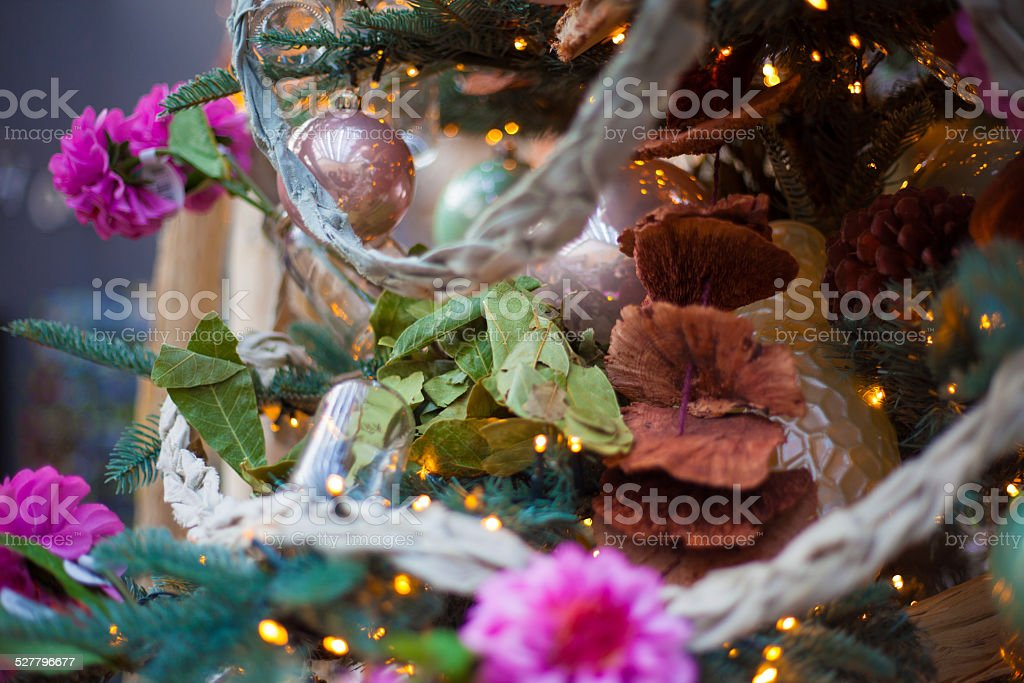 girly christmas tree stock photo