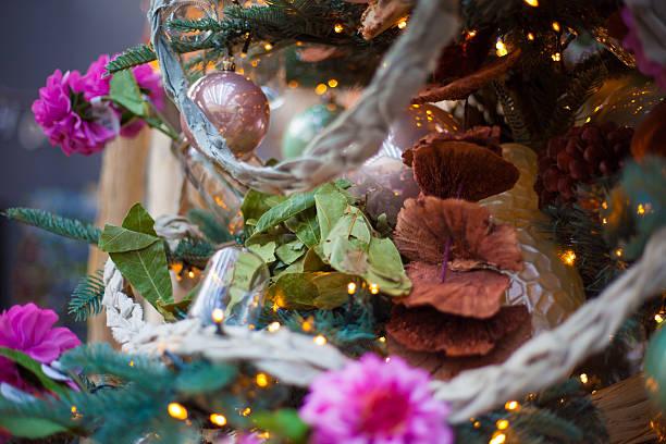girly christmas tree stock photo