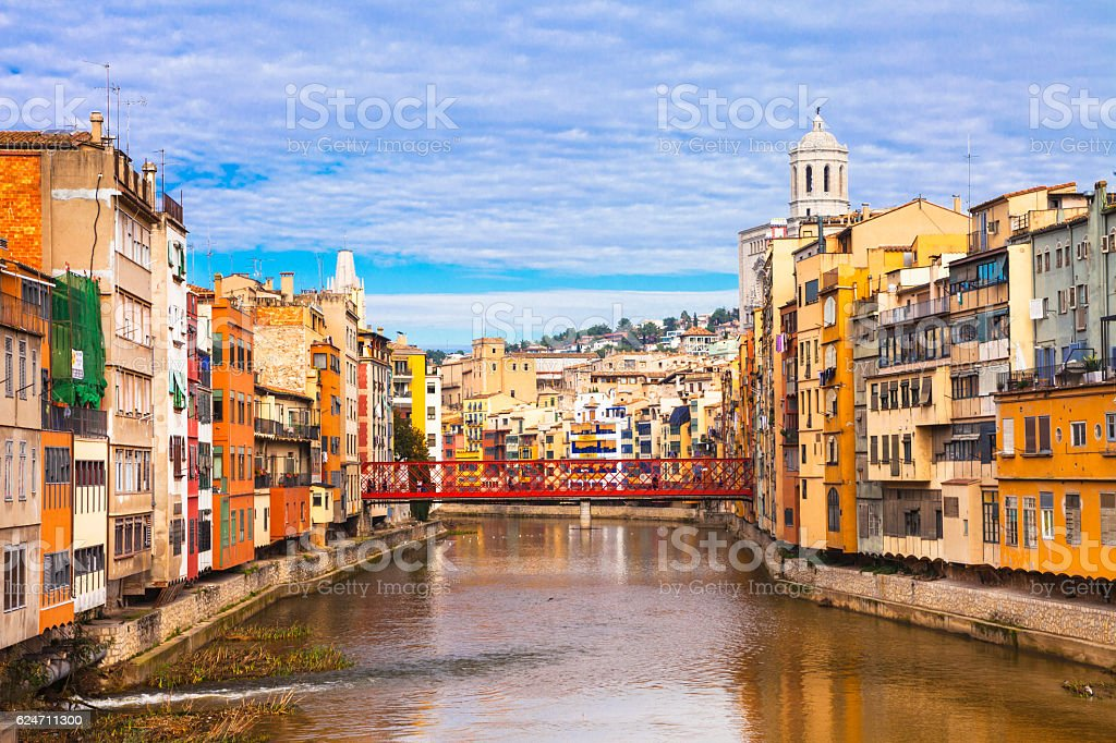 Girona - colorful town near Barcelona, Spain stock photo