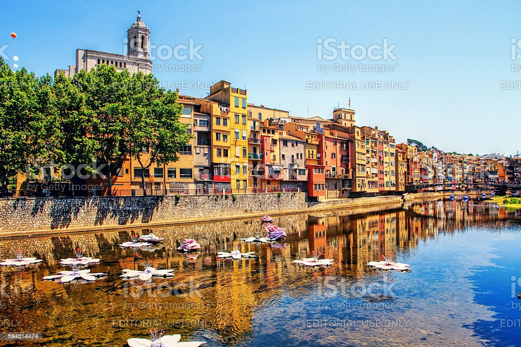 Girona during Flower Festival – Girona Temps de Flors, Catalonia,  Spain stock photo