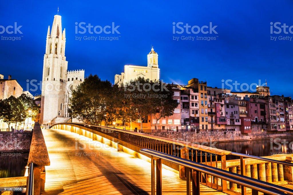 Girona night stock photo