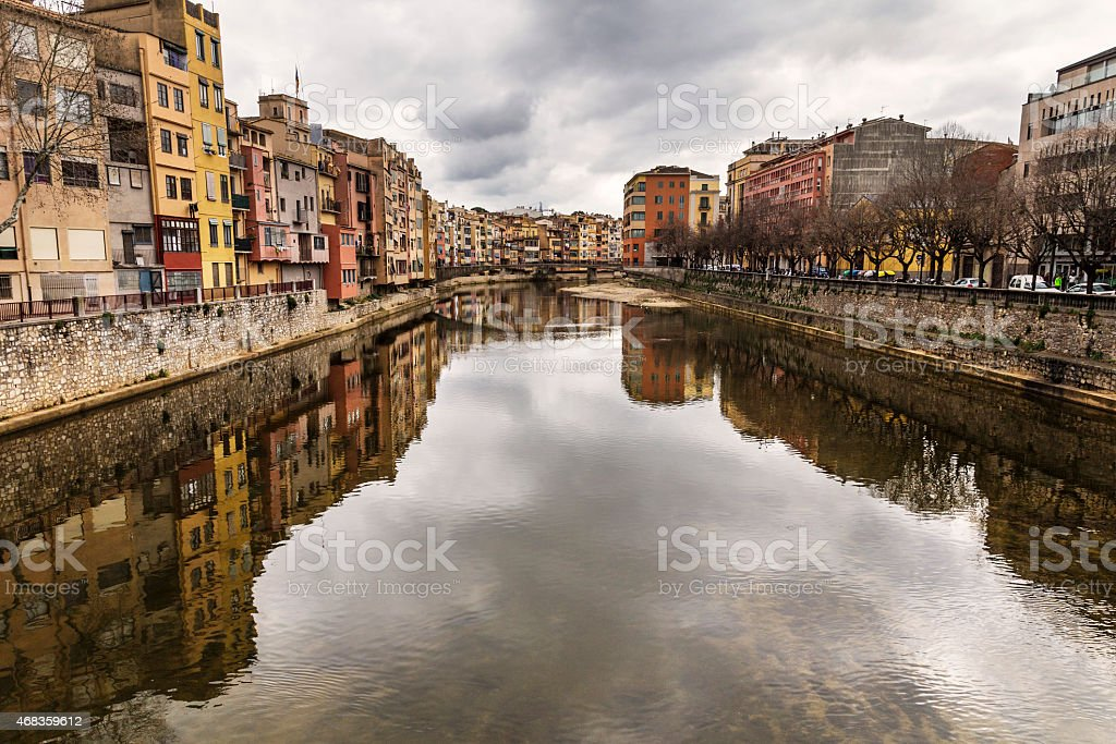 Girona river reflection landmark royalty-free stock photo