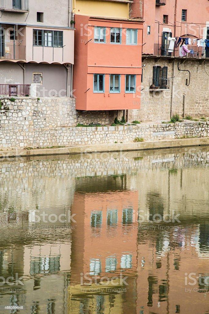 Girona river reflection landmark royalty-free stock photo