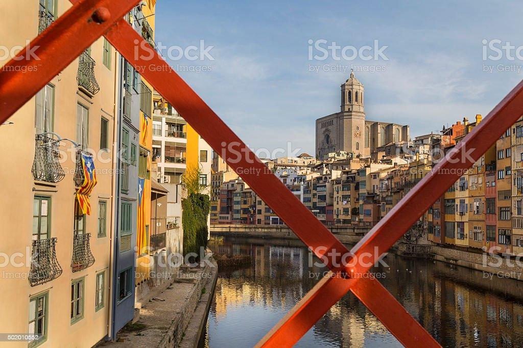 Girona skylne, famous landmark in Catalonia, Spain. stock photo