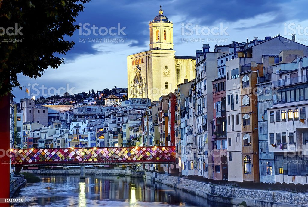 Girona, Spain, by Night with decorated Bridge royalty-free stock photo