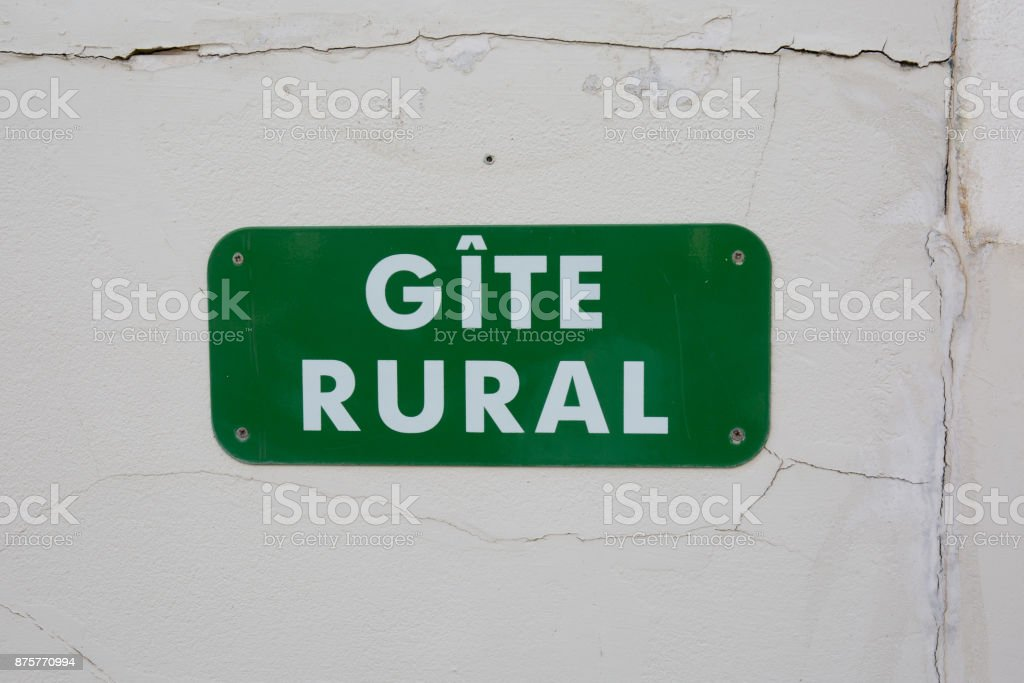 Gite rural sign in French language stock photo