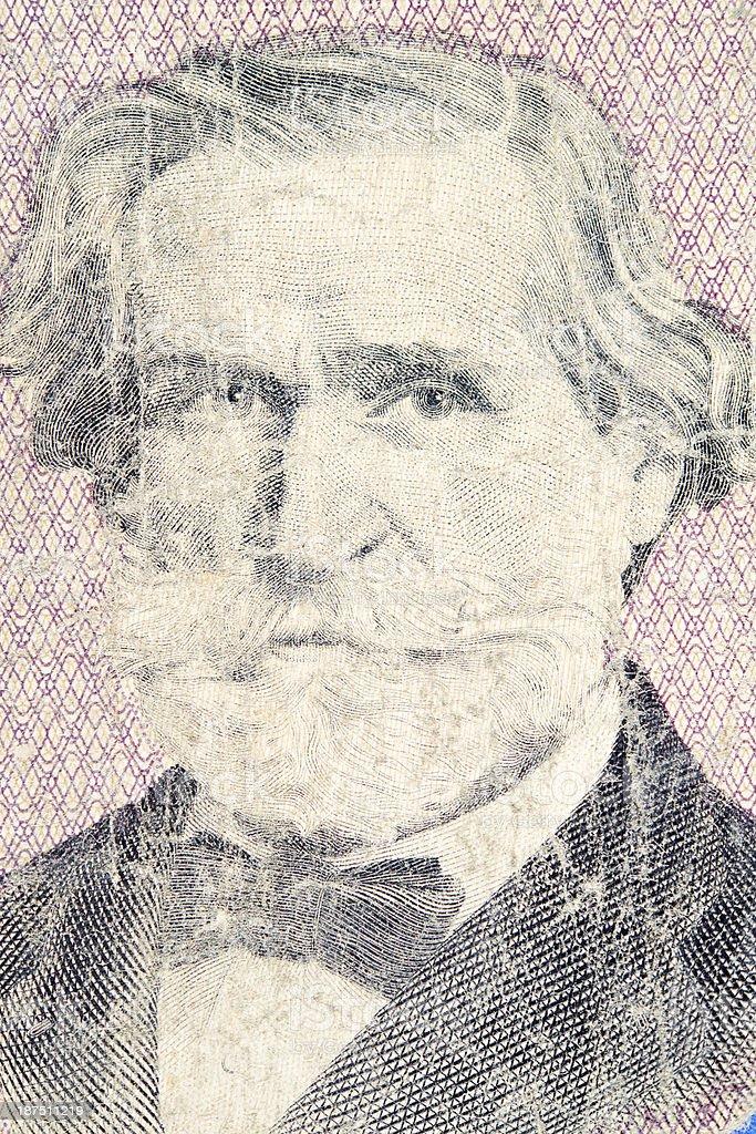 Giuseppe Verdi on Banknote royalty-free stock photo