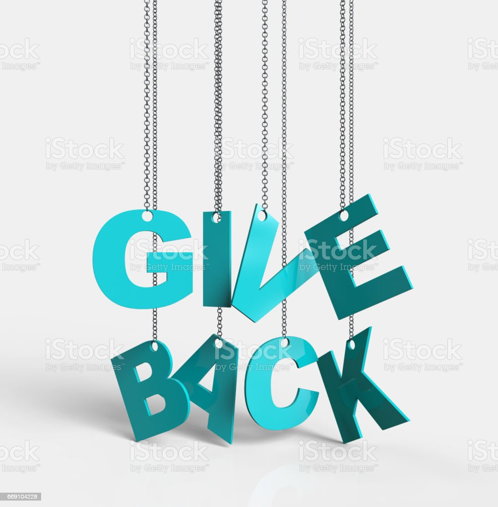 Give Back hanging on chain stock photo