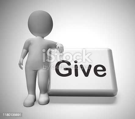 Give concept icon means donate or contribute to charity. Giving help and care like cash or time - 3d illustration
