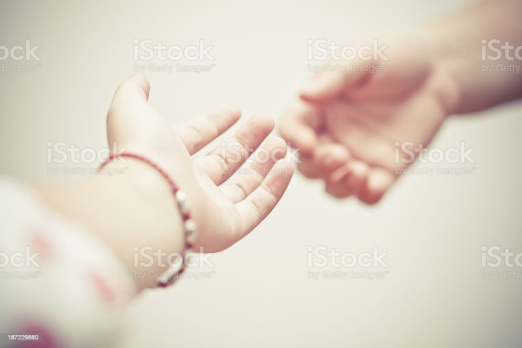 Give me your hand. stock photo